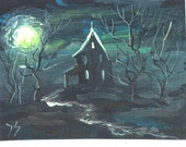 House On Haunted HIll  Halloween ACEO  print Jim Smeltz