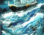ACEO THE PERFECT STORM nautical seascape print Jim Smeltz