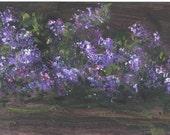 LLilacs At Night  5.5 x 8.5 floral acrylic painting by Jim Smeltz