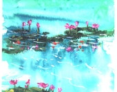 Pink Waterlilies  5 x 7 fish waterpond koi painting Jim Smeltz
