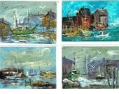 HARBORS OF CAPE ANN 4 aceo nautical prints Jim Smeltz