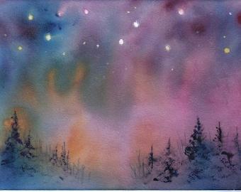 ACEO AURORA celestial northern lights print Jim Smeltz
