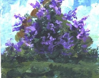 ACEO Wild Lilacs floral print Jim Smeltz