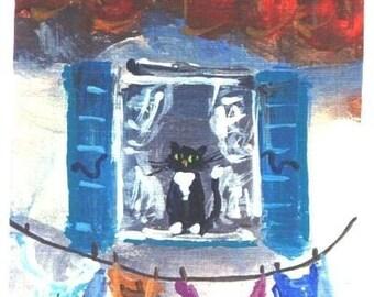 Aceo Laundry Day Provence  miniature cat print Jim Smeltz