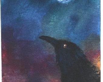 ACEO Moon Crow Halloween print Jim Smeltz