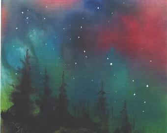 Northern Lights  5x7 celestal art star print Jim Smeltz