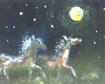 Full Moon Run  horse equine print art ACEO Jim Smeltz