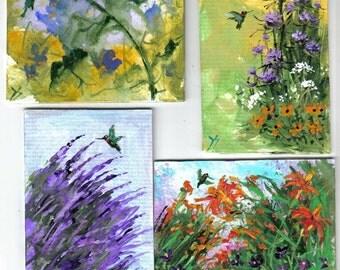 4 ACEO HUMMINGBIRD FLORAL prints Jim Smeltz