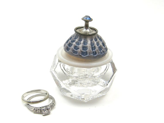 Baby Blue Salt Cellar Small Ring Engagement Box with Vintage Button Lid