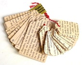 25 Tags recycled Danish vintage text