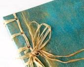Book stab bound raffia handmade blue