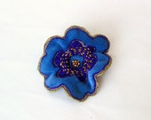 Shawl pin brooch embroidered blue velvet flower