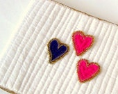 Wedding guest book quilted cover beaded hearts