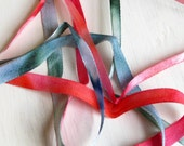 Hand dyed satin ribbon, red and green