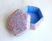 Box fabric blue pink floral hexagonal m