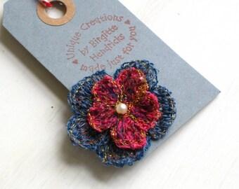 Brooch fiber art flower red blue Danish