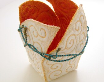 Unique OOAK handmade basket white orange