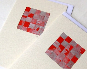 Card woven red silver stylish handmade