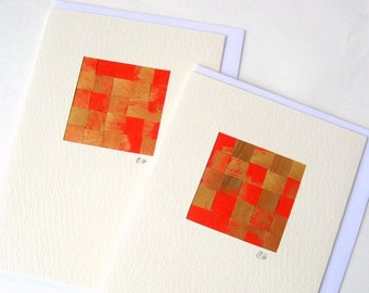 Christmas card, woven painted paper, red gold stylish elegant holidays