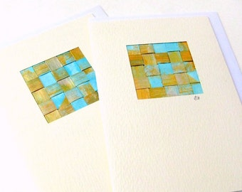 Card turquoise woven painted blank gold