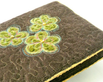 Book jacket, quilted, handmade, brown green, journal cover