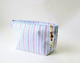 Pouch zipper cosmetic bag blue striped