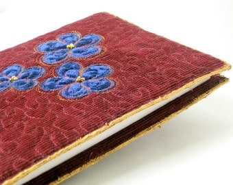 Journal cover red brown quilted applique blue flowers