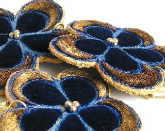 Keyring flower dark blue velvet golden handmade unique