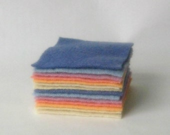 Wool fabric craft 4x4 recycled felt squares multicolors