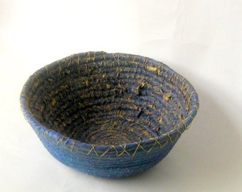 Textured coilded blue basket wired edge rustic