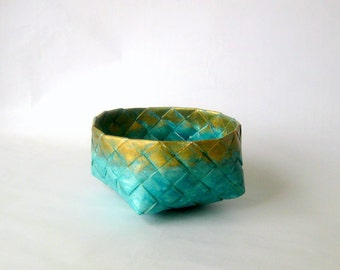 Basket paper woven turquoise gold plaited medium Danish