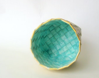 Basket tall handwoven turquoise unique Danish