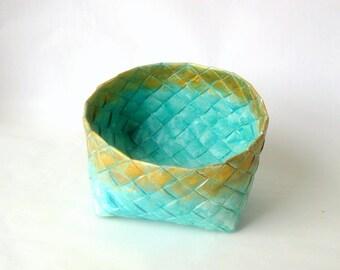 Basket woven paper turquoise handmade L Danish