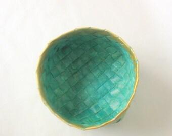 Basket plaited paper turquoise handmade L Danish