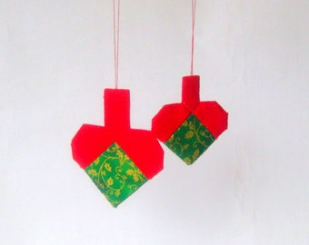2 Christmas hearts ornaments modern patchwork