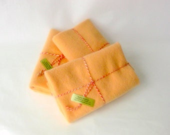 Wool blanket 15x24' felt craft recycled light orange