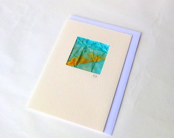 Card mini picture painted textured turquoise gold handmade