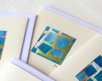 Card fabric collage squares handdyed cotton quilted