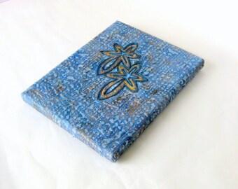 Tactile Fibre art quilt hanging textured blue canvas