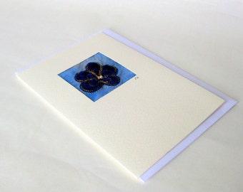Card original fiber art applique blue flower cute Danish
