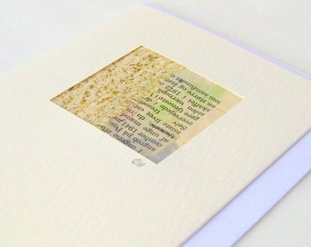 Card mini picture original collage fiber art Danish text