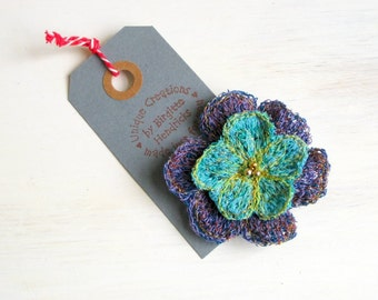 Brooch fiber art turquoise unique flower textile jewelry