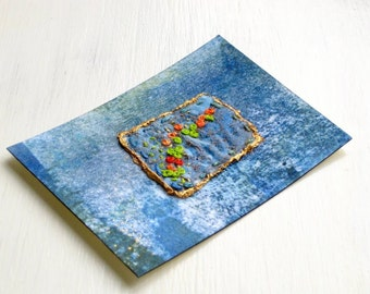 ACEO blue hand embroidered original mixed media