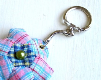 Keyring mini patchwork blue plaid recycled