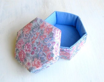 Box fabric blue pink floral hexagonal m