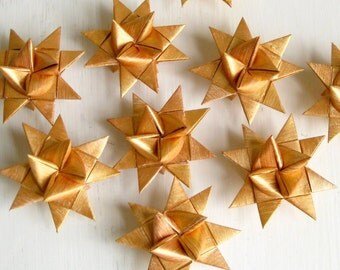Origami stars x3, golden, Christmas, hand painted, Scandinavian