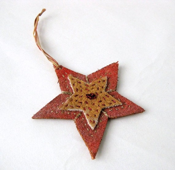 Country Christmas star ornament rustic embroidered painted (s)