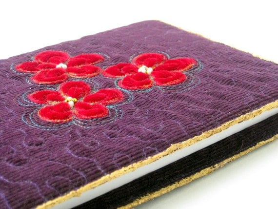 Book sleeve journal cover quilted applique unique plum
