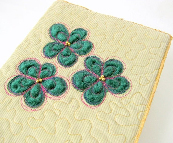 Book journal cover natural quilted appliqued green flowers