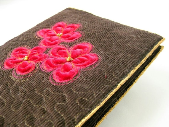 Book sleeve journal cover quilted pink appliqued flowers